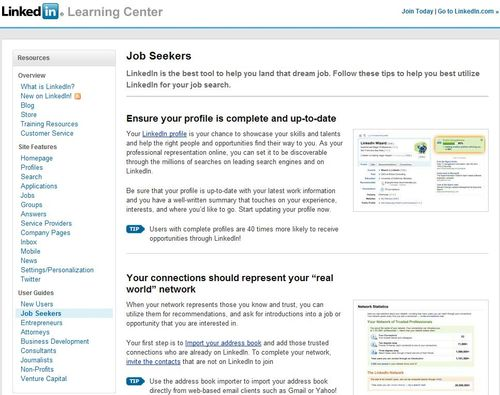 Screen shot linkedin learning center
