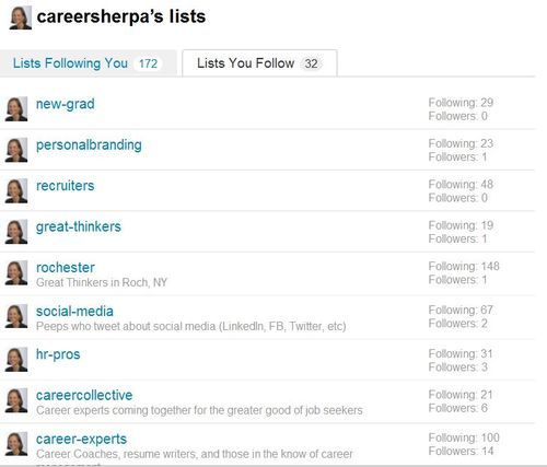 Careersherpa lists